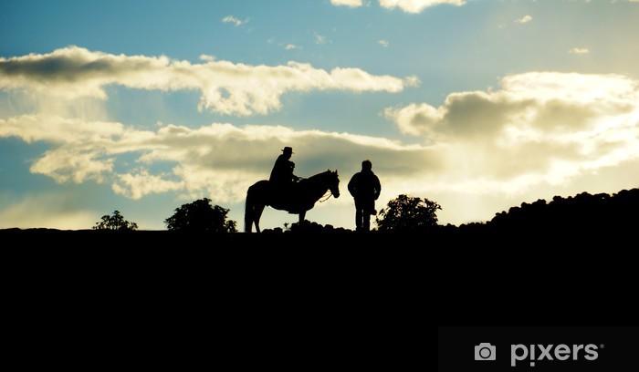 Vinyl-Fototapete Lokale Dorfbewohner auf dem Pferd. Amantani Insel, Titicacasee, Puno, P - Amerika