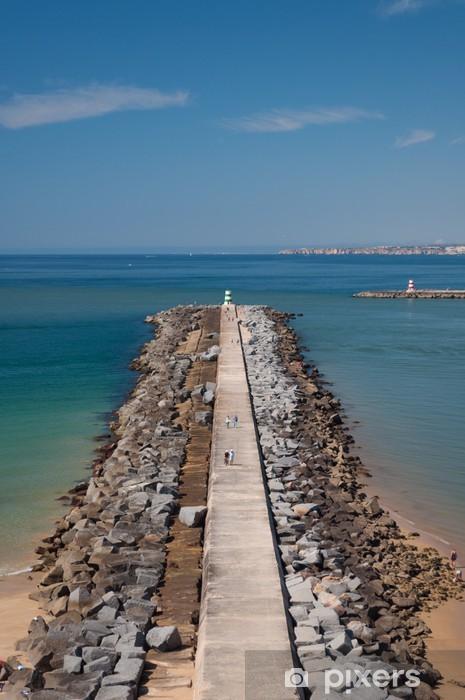Vinyl-Fototapete Wellenbrecher in Portimao Bucht, Portugal - Urlaub