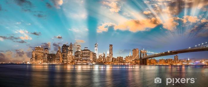 Dramatic sky over Brooklyn Bridge and Manhattan, panoramic night Vinyl Wall Mural - iStaging