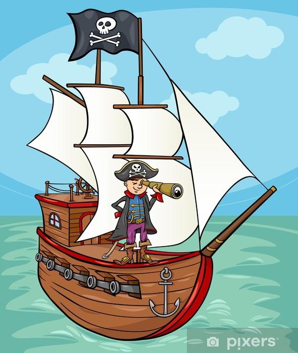 Gemi Karikatür Resimde Korsan Duvar Resmi Pixers Haydi