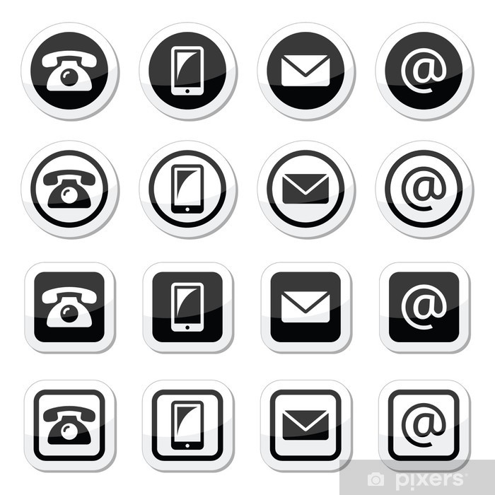 Wall Mural - Vinyl Contact icons set, mobile, phone, email, envelope