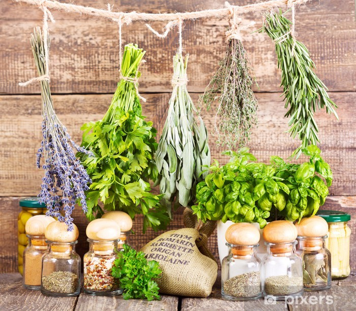 various fresh and dried herbs Vinyl Wall Mural - Herbs