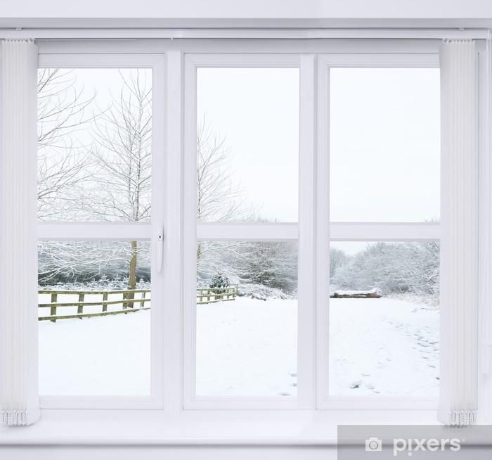 Snow Scene Window Vinyl Wall Mural - Themes