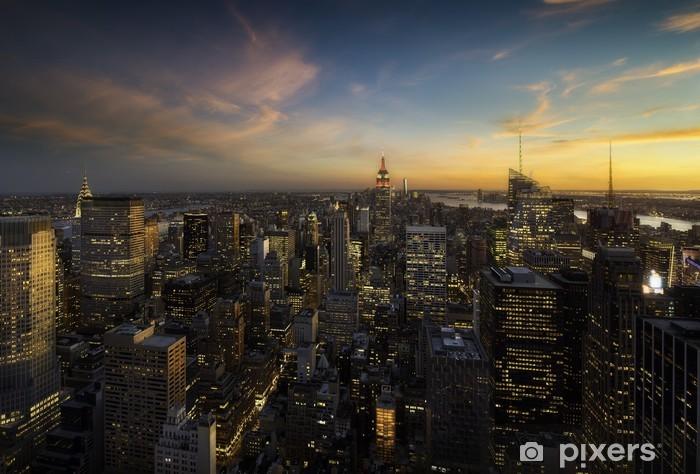 Naklejka Pixerstick Manhattan Skyline o zachodzie słońca, New York - Nowy Jork