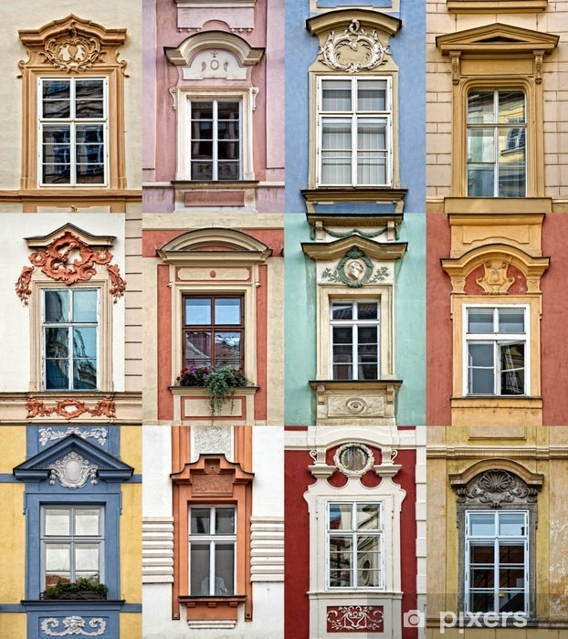 Collage of colorful windows of Prague, Czech Republic Vinyl Wall Mural - Travel