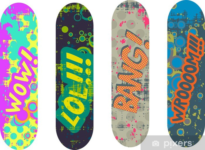 Vector skateboard design pack with cartoon style effects Vinyl Wall Mural - Sports