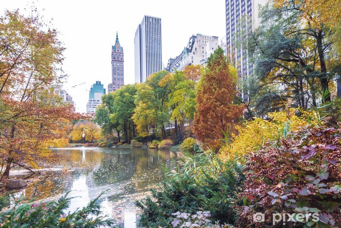 The Pond in Central Park's lower east corner during the fall Pixerstick Sticker - America