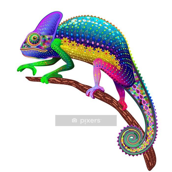 Wandtattoo Chameleon Fantasie Regenbogen-Farben - Wandtattoo