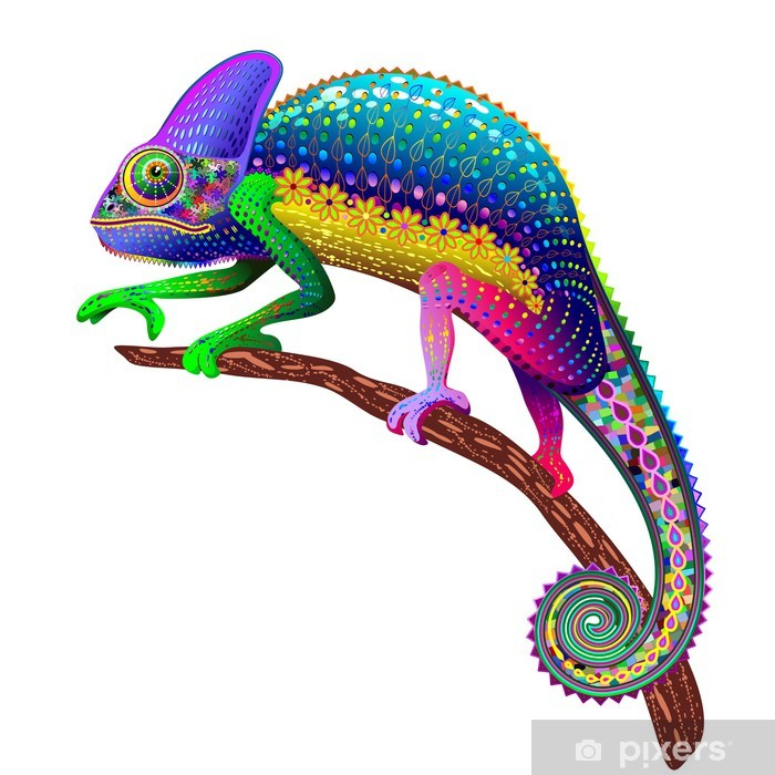 Plakat Chameleon Fantasy Kolory tęczy - Naklejki na ścianę