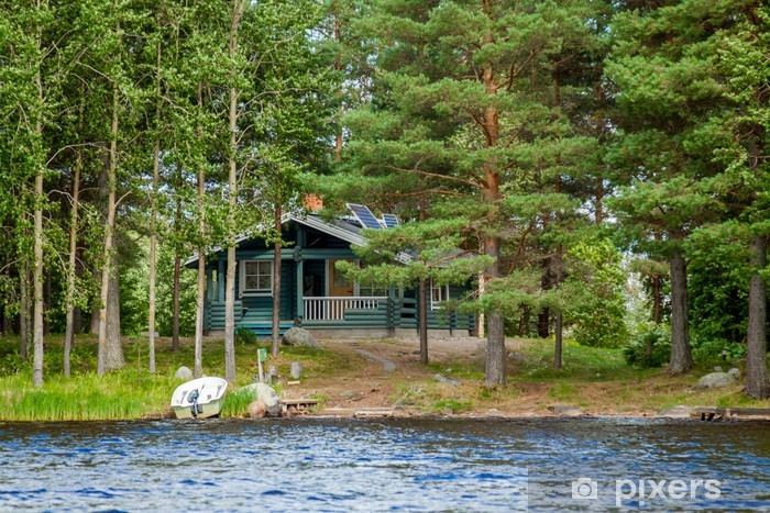 Cottage by the lake in rural Finland Vinyl Wall Mural - Private Buildings