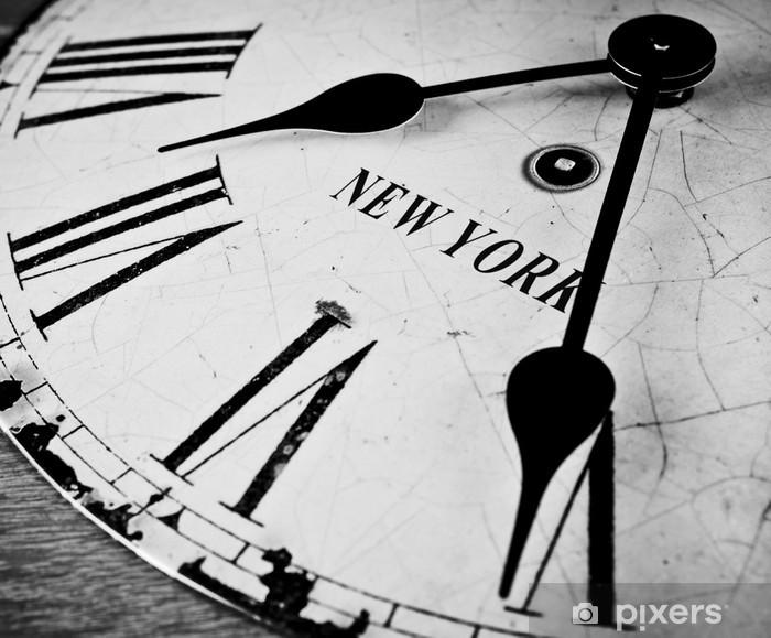New York city clock black and white Pixerstick Sticker - Clocks