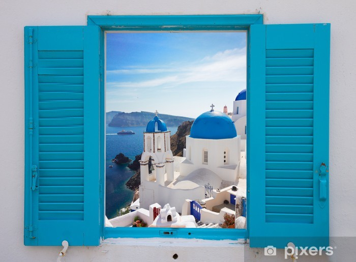 Fototapeta winylowa Okno z widokiem na kalderę i kościoła, Santorini - Tematy