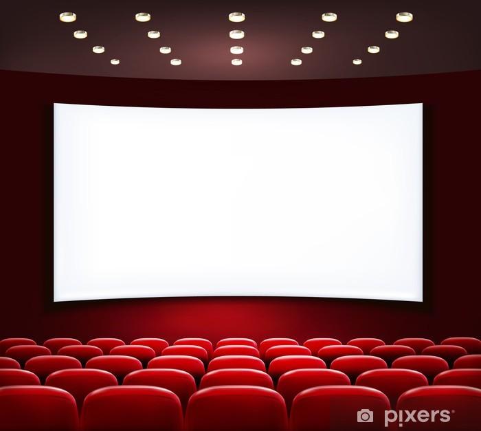 Papier peint vinyle Cinéma avec écran blanc et des sièges. Vector. - Divertissements