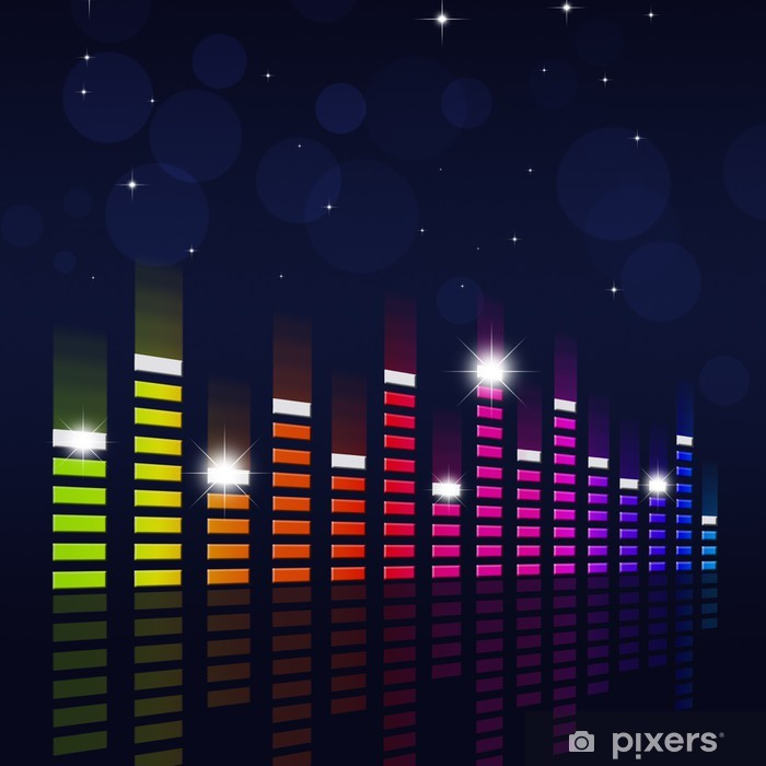 Multicolor Music Equalizer on Blue Background Wall Mural - Vinyl