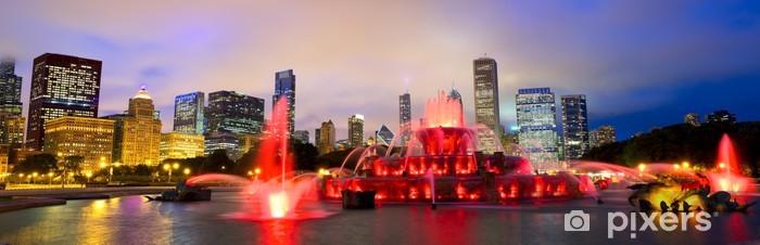 Vinylová fototapeta Chicago panorama panorama s Buckingham fontány v noci, USA - Vinylová fototapeta