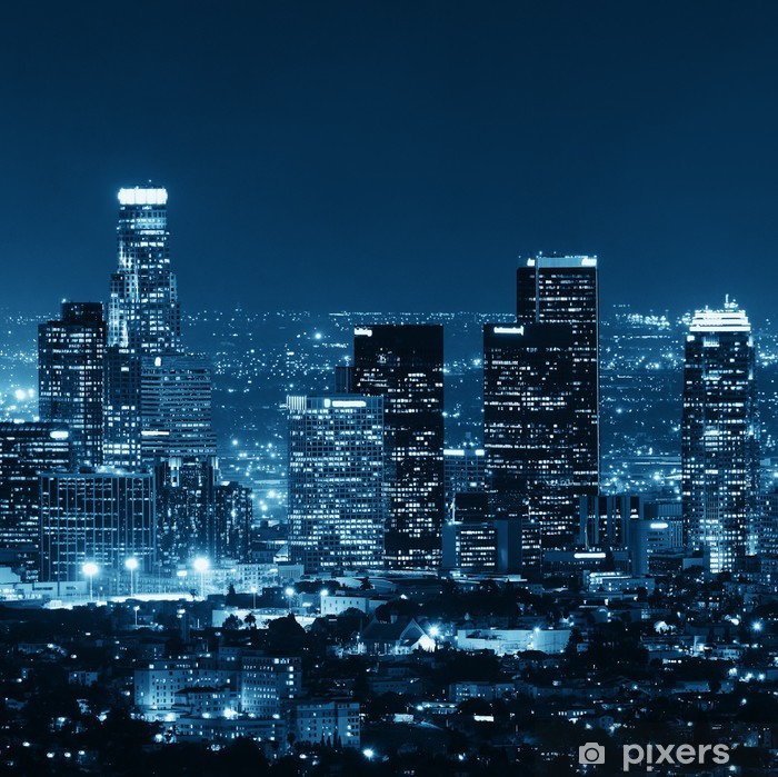 Los Angeles at night Pixerstick Sticker - Themes