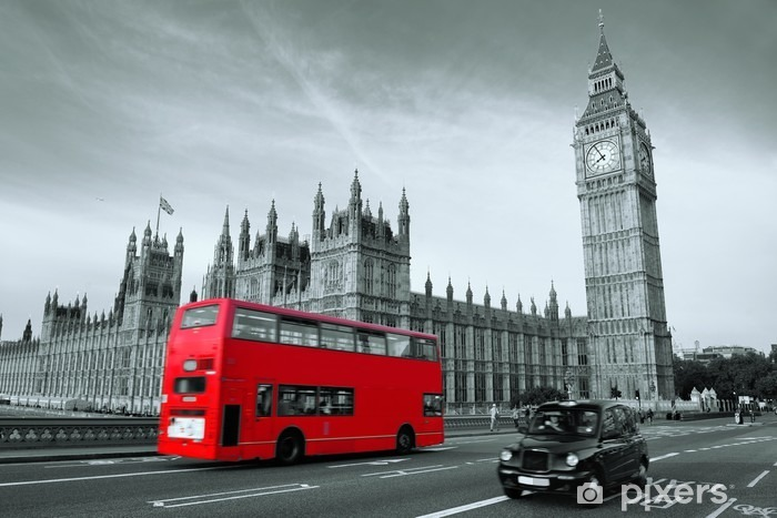 Bus in London Vinyl Wall Mural -