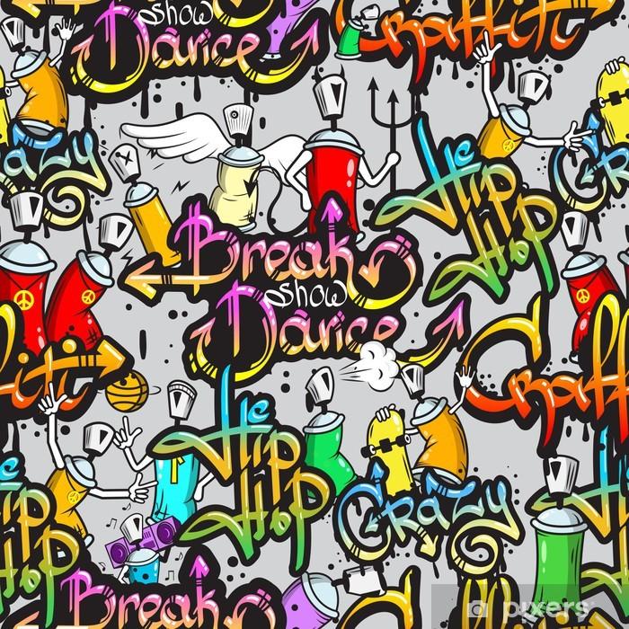 Carta da Parati in Vinile Caratteri Graffiti seamless pattern - Temi