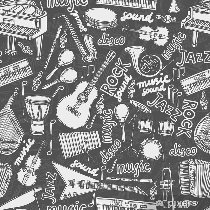 Fotomural Instrumentos Musicales Patron Seamless Pixers Vivimos