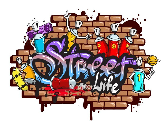 Graffiti word characters composition Wall Decal - Wall decals