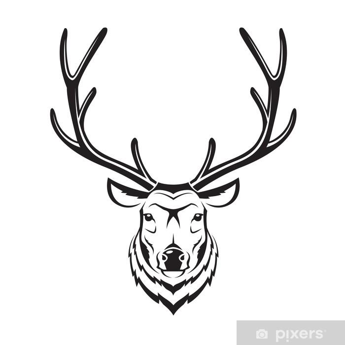 Papier peint vinyle Image monochrome d'une tête de cerf - Mammifères