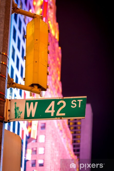 West 42nd Street sign at Times Square in New York City, USA. Pixerstick Sticker - America