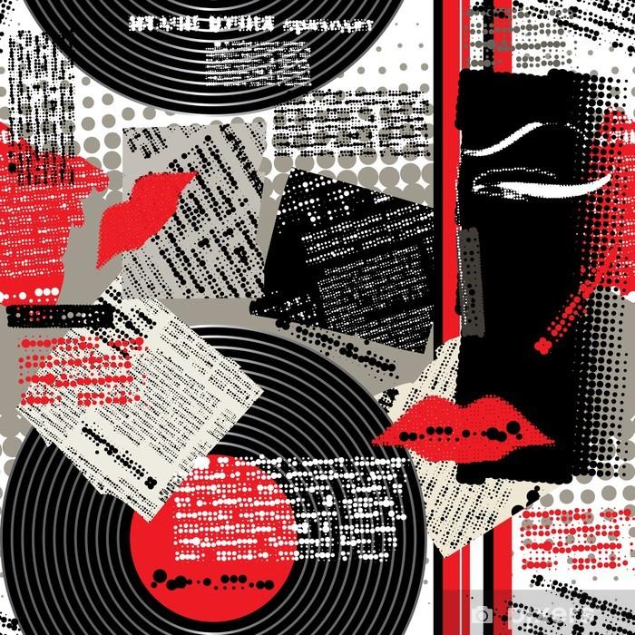 Fototapete Collage Schwarz Weiß Rot