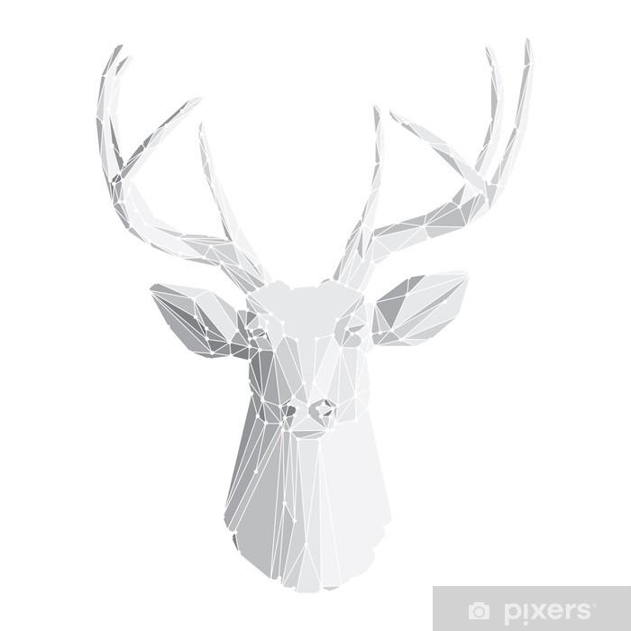 Vinyl Fotobehang Herten hoofd op witte achtergrond 2 - Tekens en Symbolen