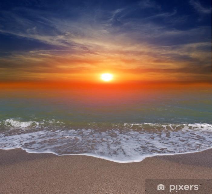 aufkleber sonnenuntergang über meer strand • pixers®  wir