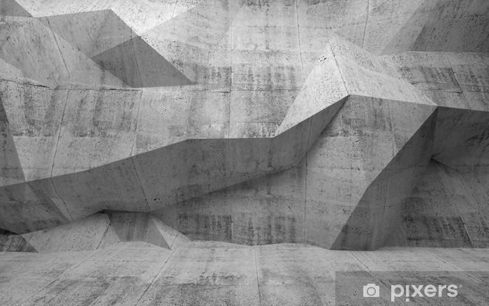 Pixerstick-klistremerke Abstrakt mørk betong 3d interiør med polygonalt mønster på -