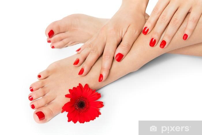 Pixerstick Sticker Vrouw met mooie rode gemanicuurde nagels - Lichaamsdelen