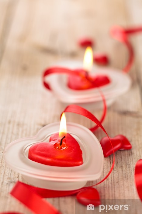 Heart shaped candles . Pixerstick Sticker - Celebrations