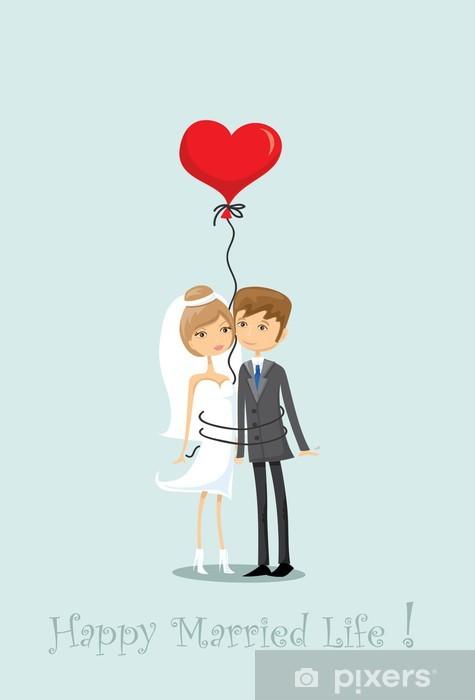 Vinyl-Fototapete Свадебное фото, жених и невеста в любви, вектор фон - Feste