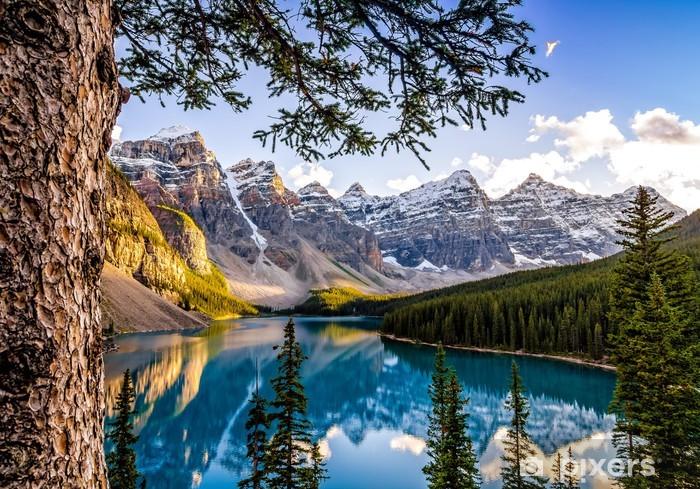 Pixerstick Dekor Visa landskap av Morain sjön och bergskedjan, Alberta, Canad - Teman