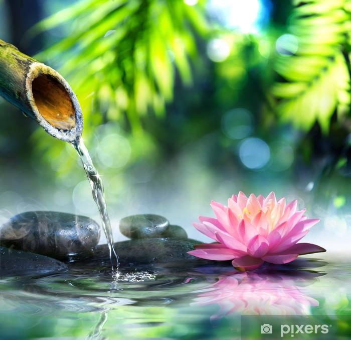 Fotomural Lavable Jardín zen con piedras negro y rosa waterlily - iStaging