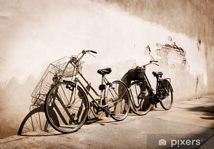 Italian old-style bicycles leaning against a wall Vinyl Wall Mural - Themes