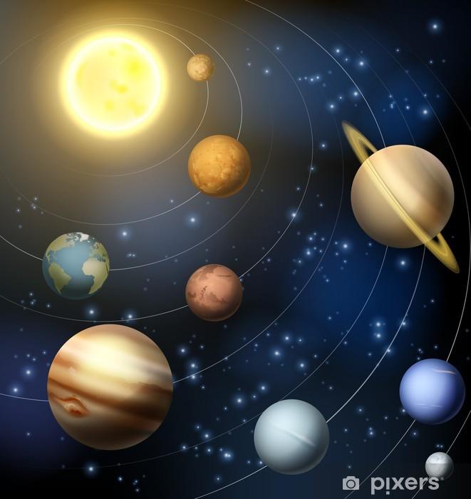 Naklejka Pixerstick Ilustracja planety układu słonecznego - Galaktyka