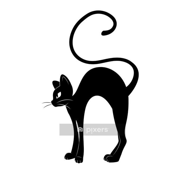 Muursticker Zwarte kat. Silhouet - Zoogdieren