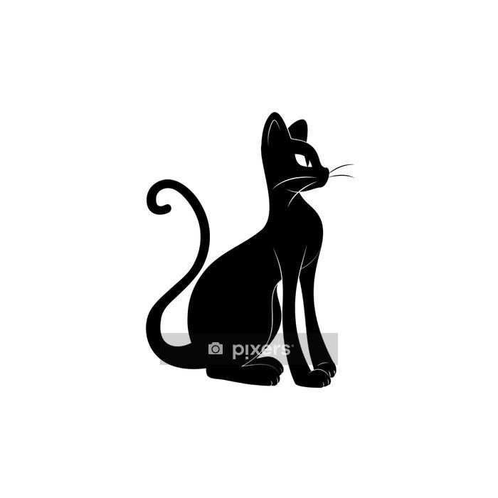 Muursticker Zwarte kat. Silhouet -