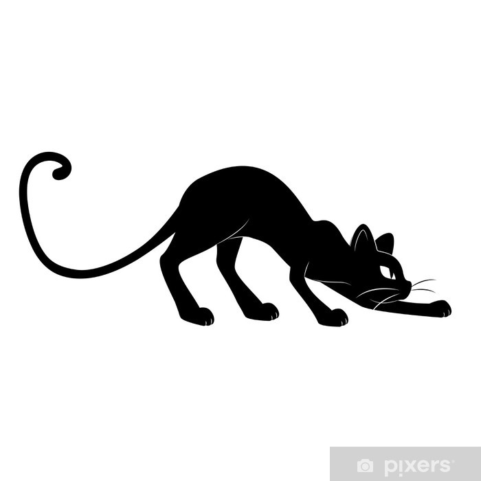 Pixerstick Sticker Zwarte kat. Silhouet - Zoogdieren