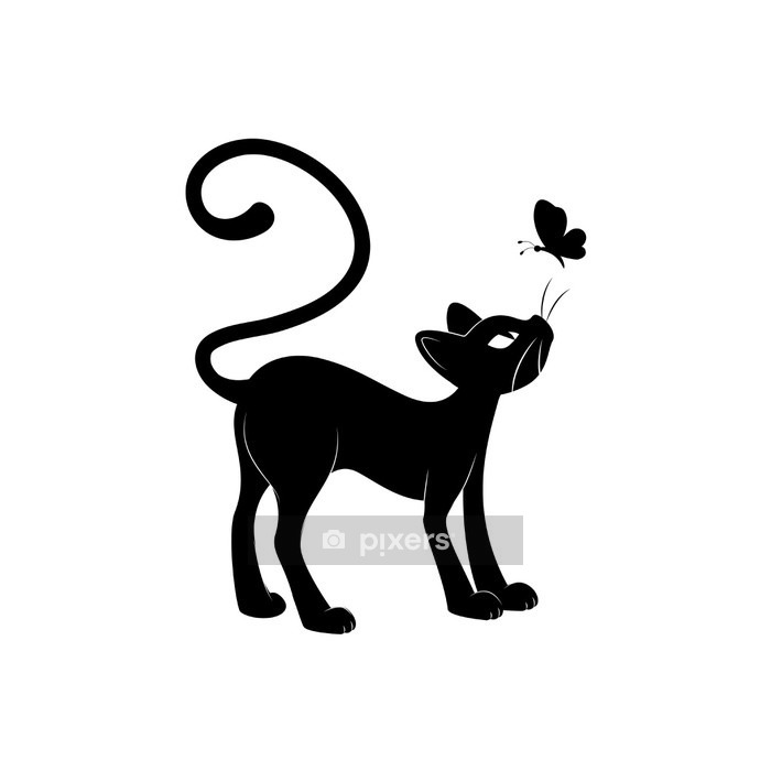 Muursticker Zwarte kat. Silhouet - Bestemmingen
