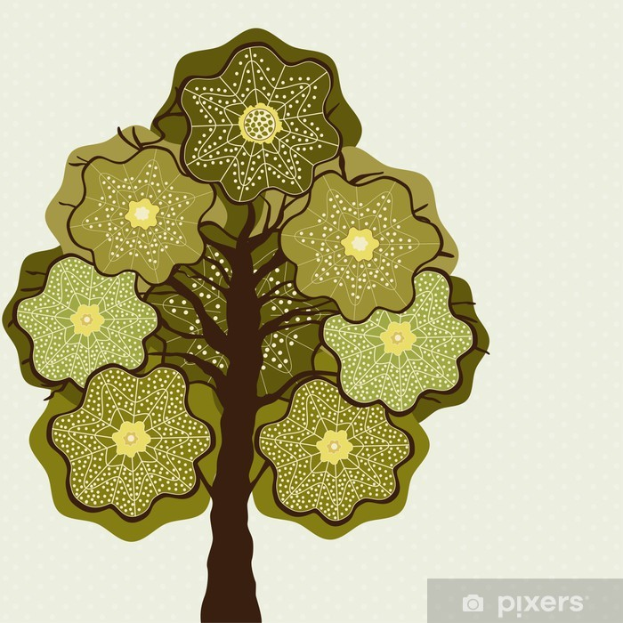 Card with abstract tree Vinyl Wall Mural - Trees