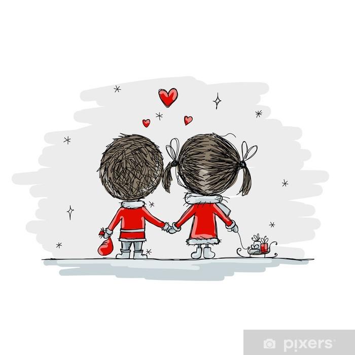 Sticker Pixerstick Couple dans l'amour ensemble, illustration de noël pour votre conception - Fêtes internationales
