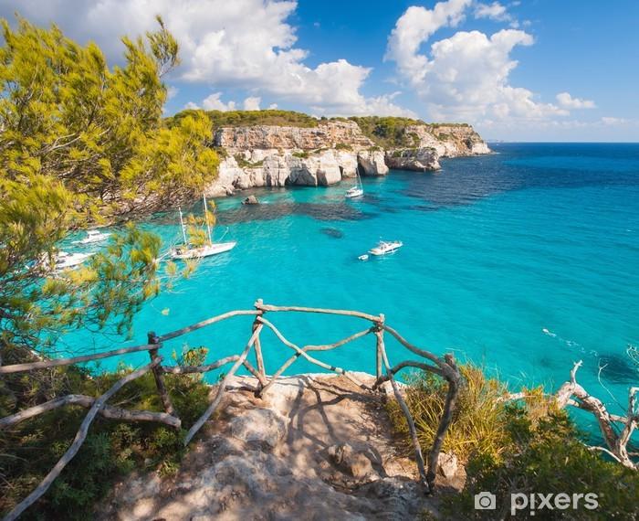 Vinyl Fotobehang Balkon naar de Middellandse Zee in Cala Macarella - Thema's
