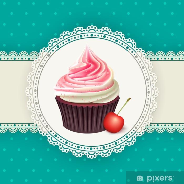 Naklejka Pixerstick Archiwalne tła z cupcake - Świętowanie