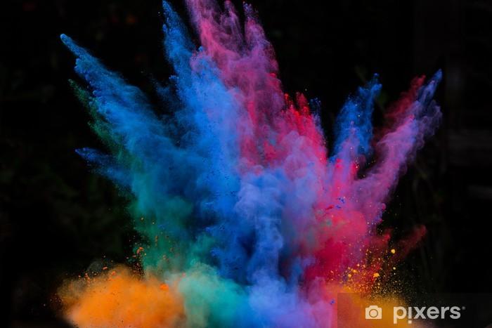 Nálepka Pixerstick Zahájila barevný prášek na černém - Pozadí