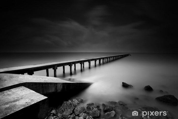 Jetty or Pier in black and white Vinyl Wall Mural - Themes