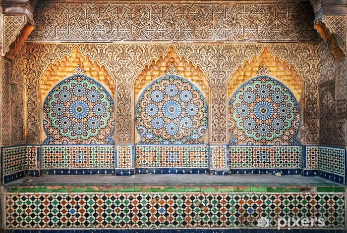 Kaststicker Oude Arabische niche met mozaïek in Medina. Tanger, Marokko - Afrika
