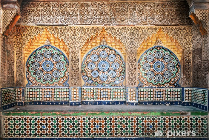 Ancient Arabic niche with mosaic in Medina. Tangier, Morocco Vinyl Wall Mural - Africa