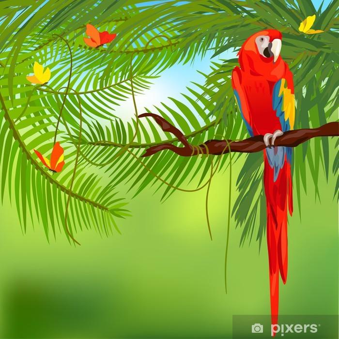 Plakat w ramie Lasów tropikalnych i papuga - Tematy